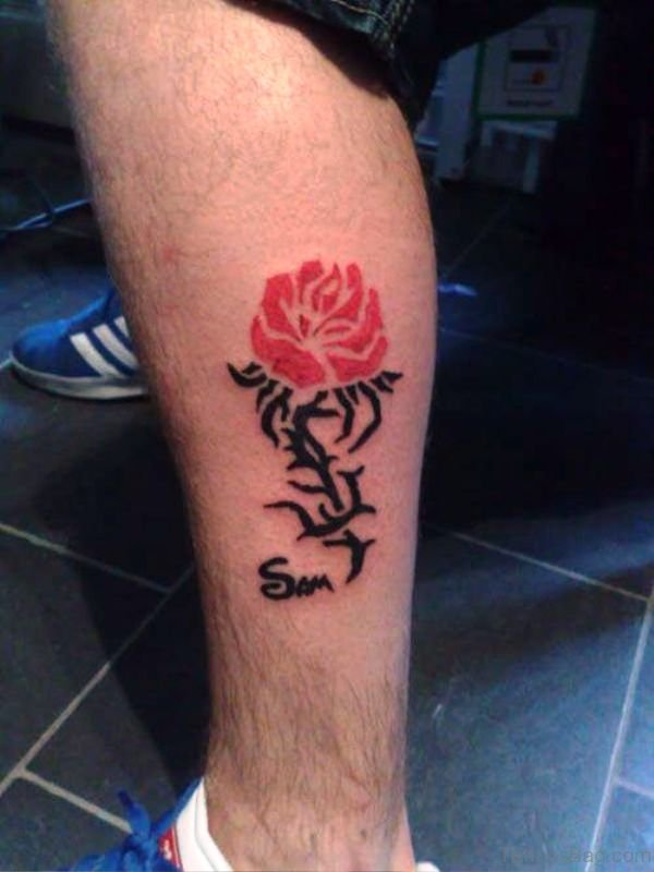 Tribal Rose Tattoo On Calf