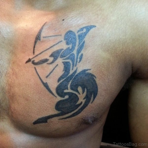 Tribal Sagittarius Zodiac Tattoo On Chest
