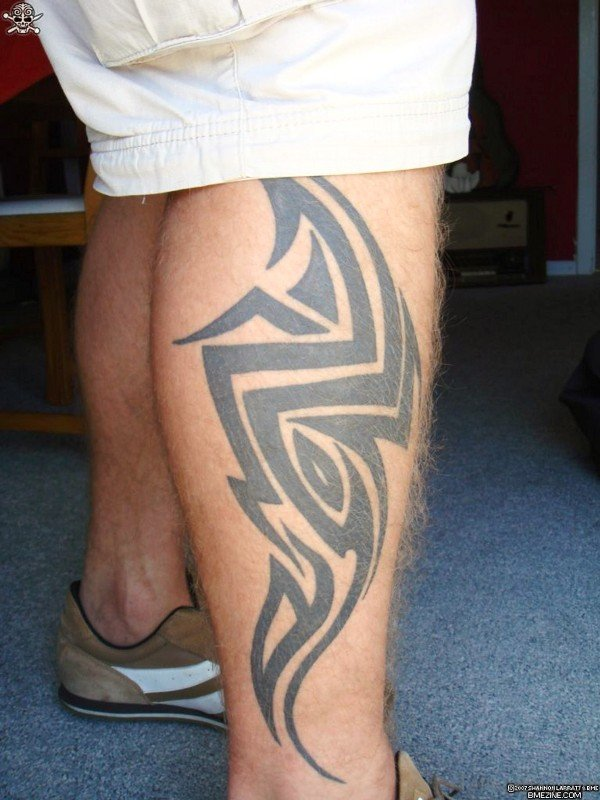 Tribal Tattoo Design On Calf