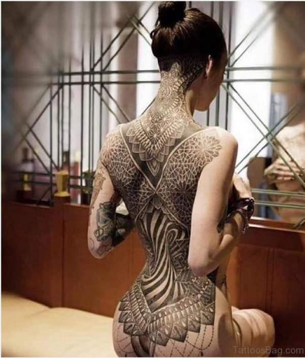 Tribal Tattoo Design On Full Back