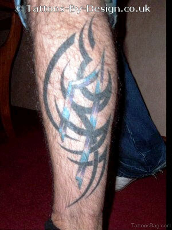 Tribal Tattoo On Calf Image