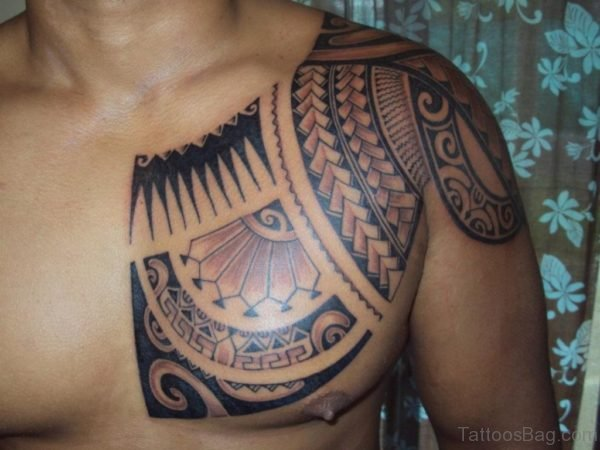 Tribal Tattoo On Chest