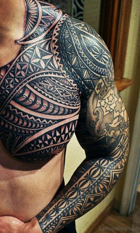 Wonderful Tribal Tattoo On Chest