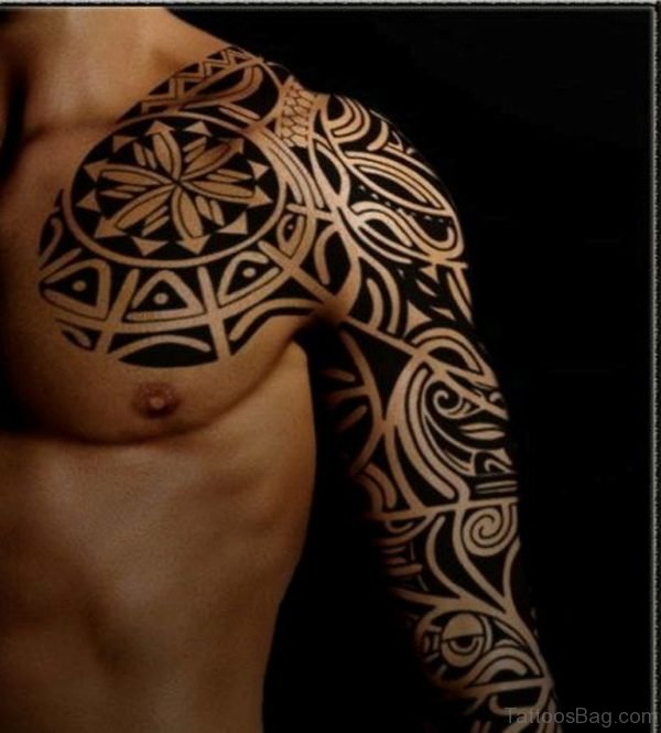 Tribal Tattoo On Full Sleeve TB154 1