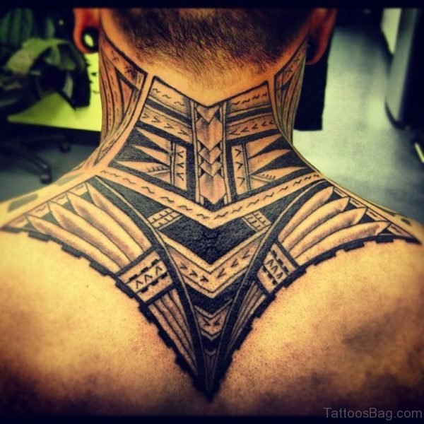Tribal Tattoo On Nape