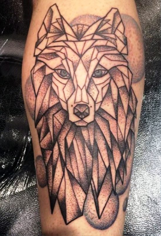 Tribal Wolf Tattoo On Calf