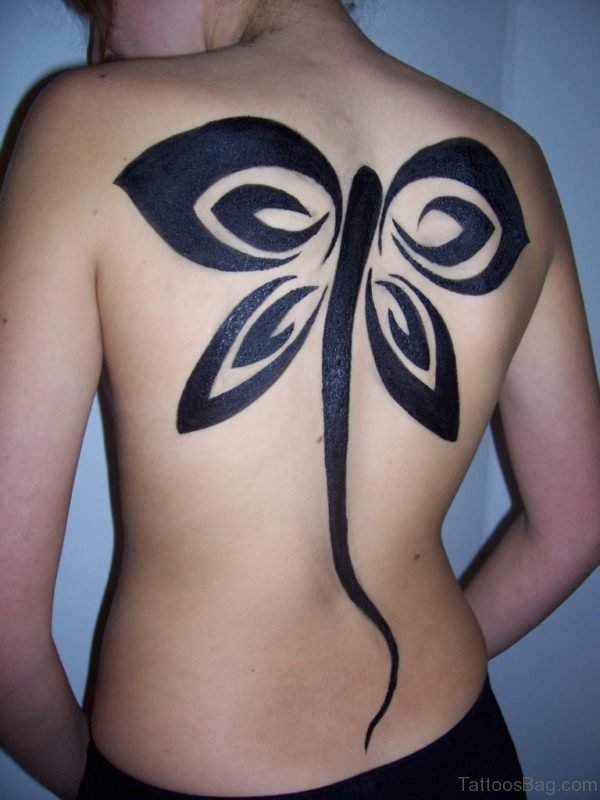 Trible Butterfly Tattoo On Back