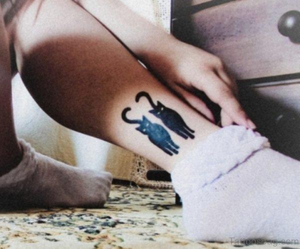 Two Black Cats Tattoo On Leg