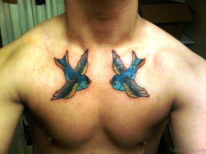 31 Dazzling Blue Bird Tattoos On Chest