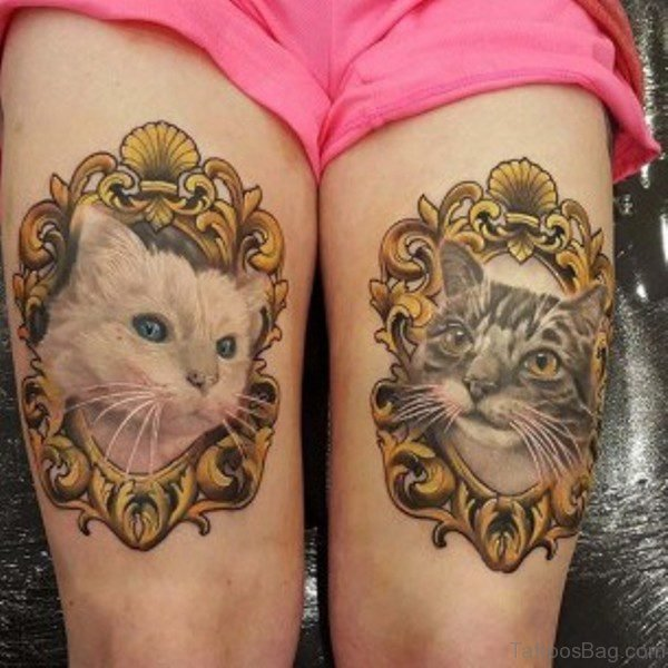 Two Cats Tattoo On Thigh