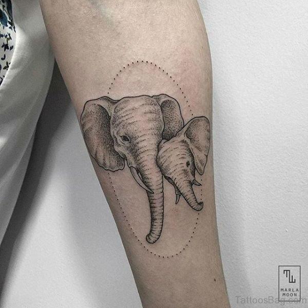 Two Elephant Tattoo On Forearm