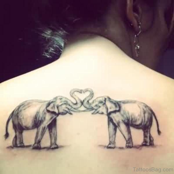 Two LOving Elephant Tattoo On Back
