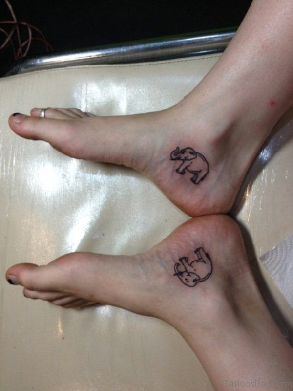 Two Little Elephant Tattoo On Ankle