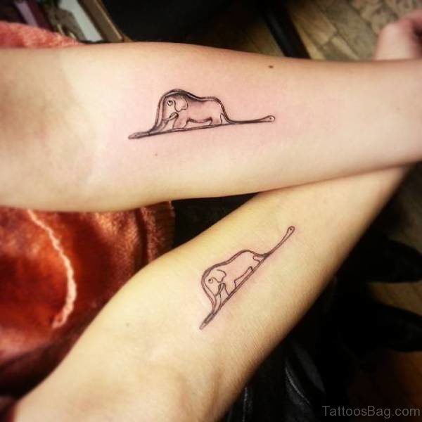 Two Matching Elephant Tattoo On Forearm