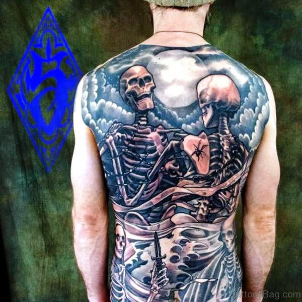 Two Skeleton Tattoo On Back