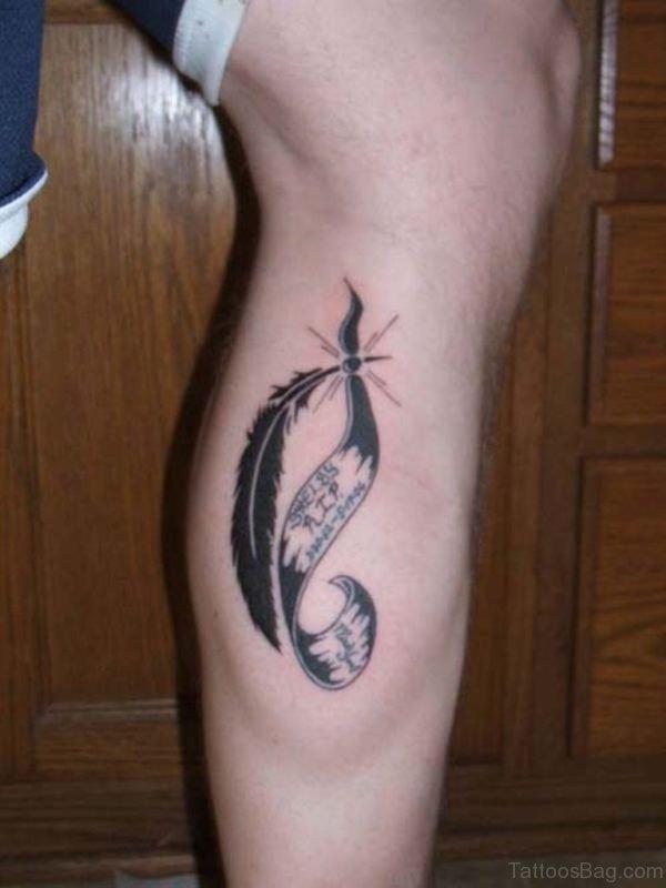 Ultimate Feather Tattoo On Leg