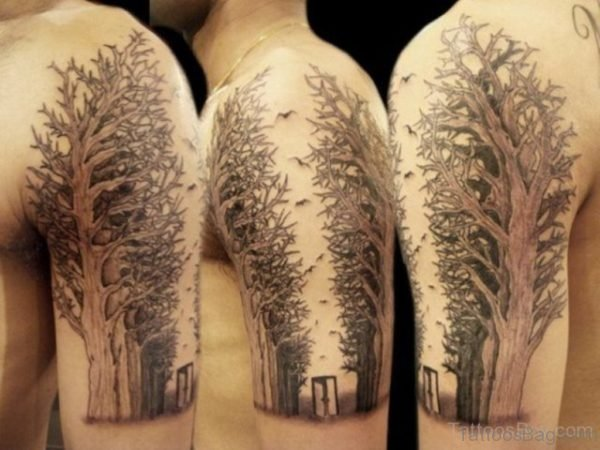 Ultimate Tree Tattoo On Shoulder