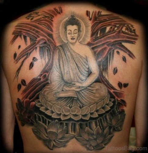 Unbelievable Buddhist Tattoo Design On Back Body