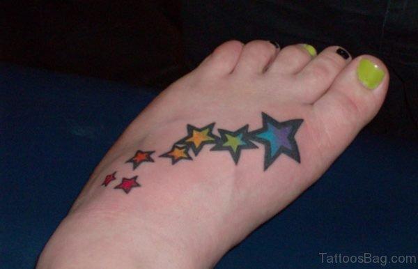 Unforgettable Star Tattoo On Foot