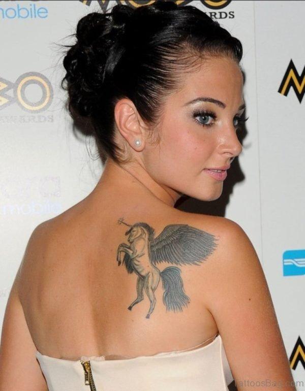 Unicorn Tattoo On Upper Back