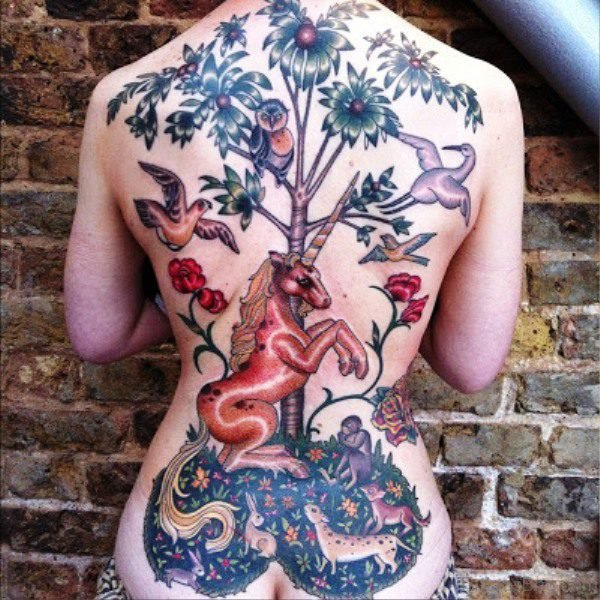 Unicorn With Birds And Flowers