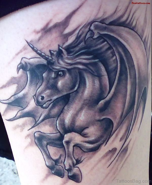 Unicorn With Wings Tattoo