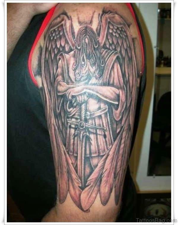 Unique Archangel Tattoo On Shoulder