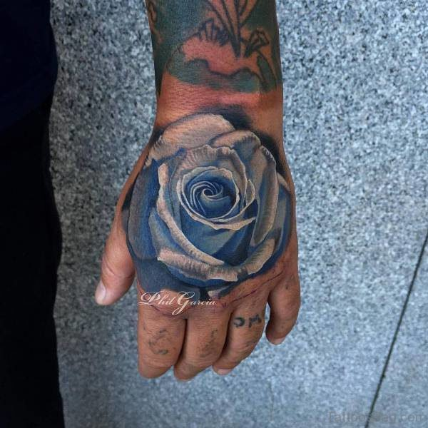 Unique Blue Roose Tattoo On Hand