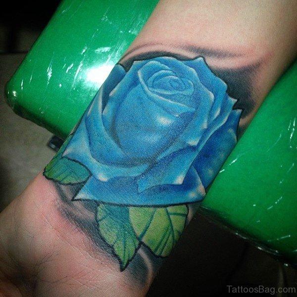 Unique Blue Rose Tattoo On Wrist
