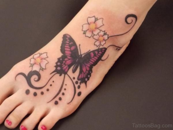 Unique Butterfly Tattoo On Foot