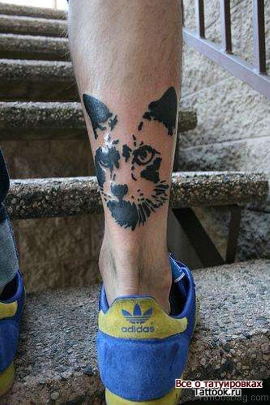 Unique Cat Head Tattoo On Leg