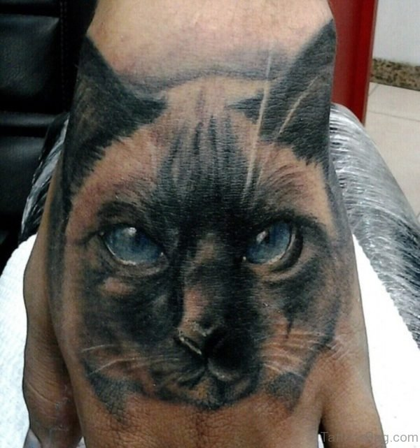 Unique Cat Tattoo On hand
