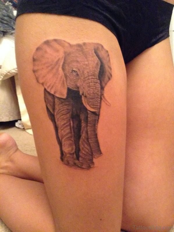 Unique Elephant Tattoo On Thigh