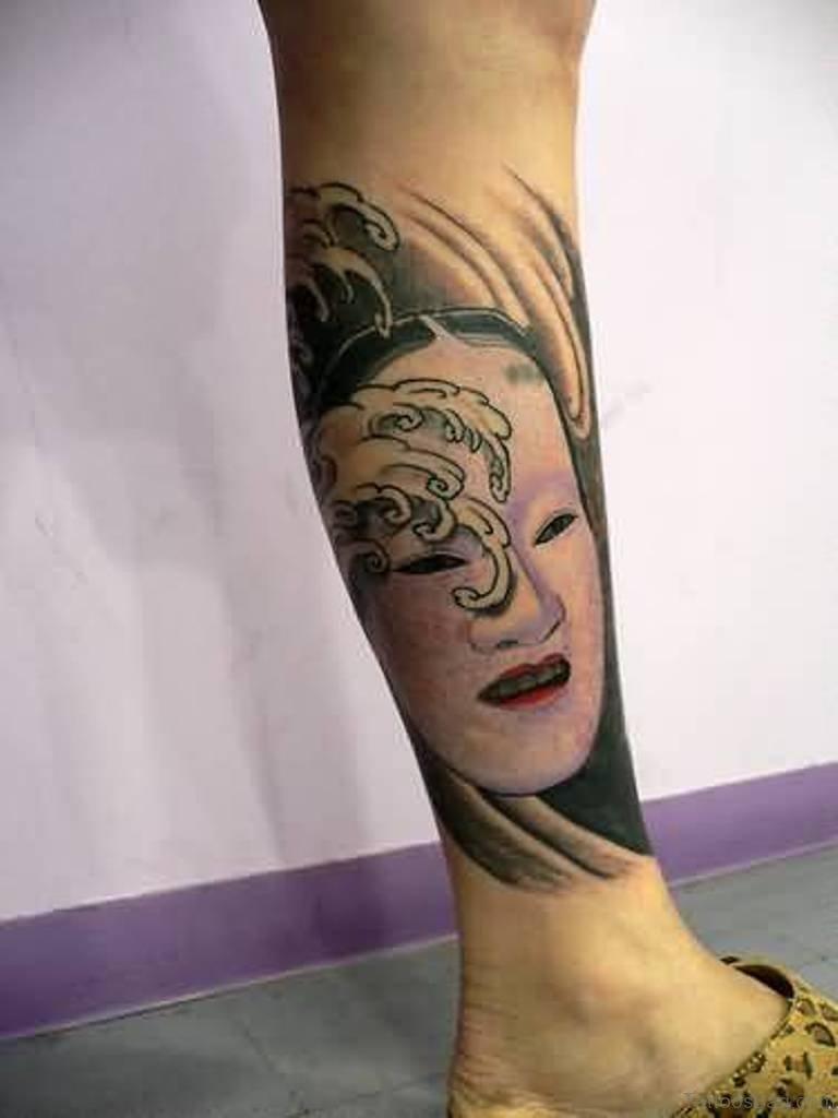 40 impressive mask tattoos for leg