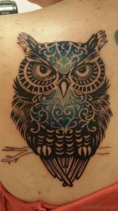 Unique Owl Tattoo On Shoulder Back