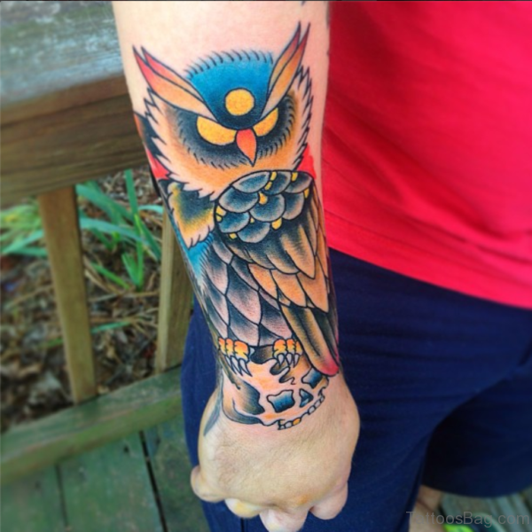 Unique Owl Tattoo On Wrist