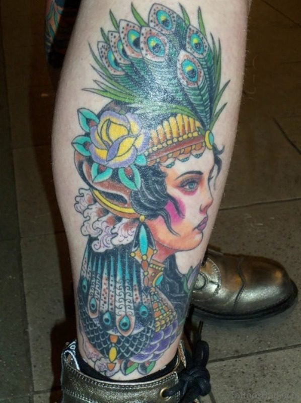 Unique Peacock Feather Tattoo On Leg