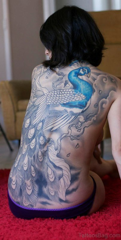 Unique Peacock Tattoo On Back
