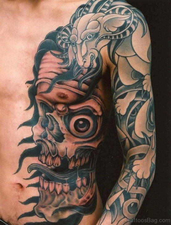 Unique Skull Tattoo On Rib