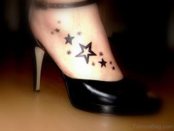 Unique Star Tattoo On Foot