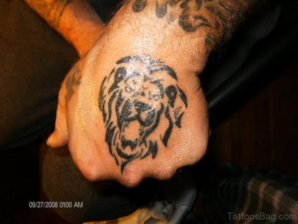 Unique Tribal Lion Tattoo On Hand