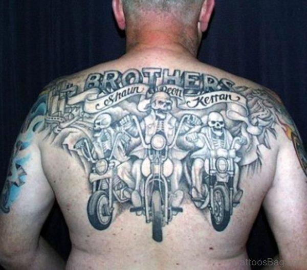 Upper Back Harley Davidson Skull Tattoo