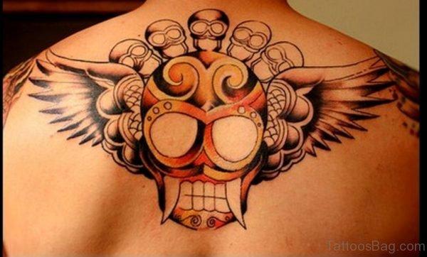 Upper Back Skull Tattoo