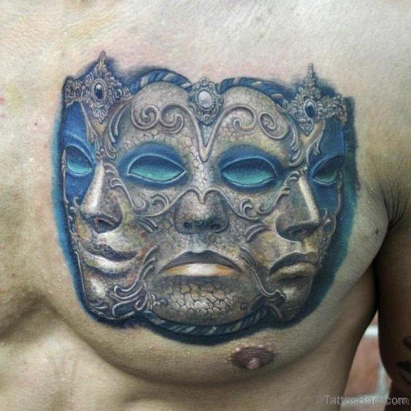 Venetian Mask Tattoo Design On Chest