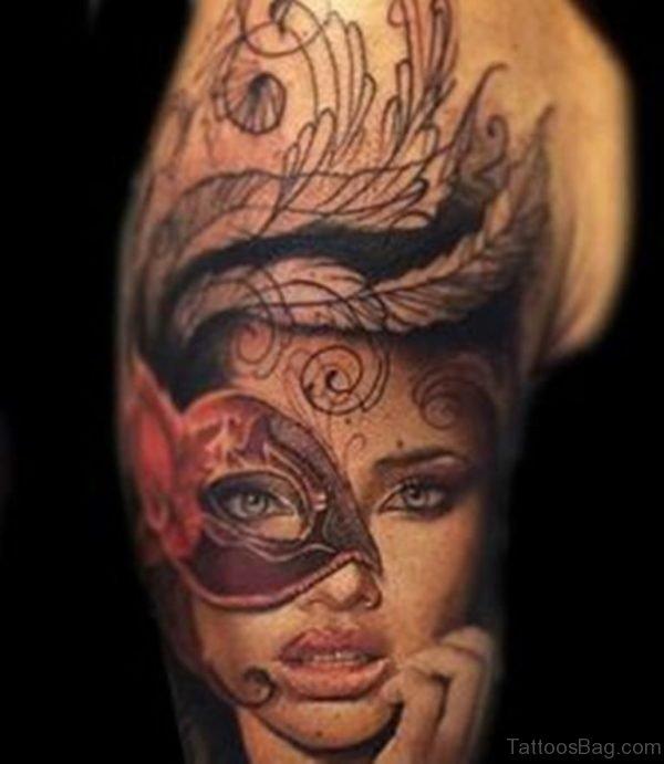 Venetian Mask Tattoo For Shoulder