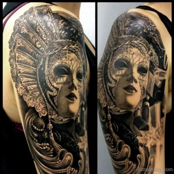 Venetian Mask Tattoo On Shoulder