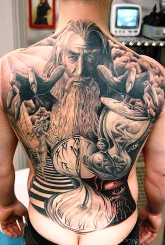 Viking Wizard Tattoo On Back
