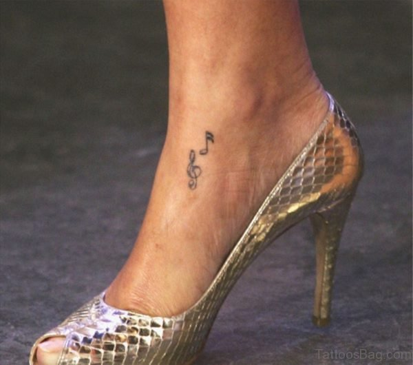 Violen Key And Music Note Tattoo On Ankle