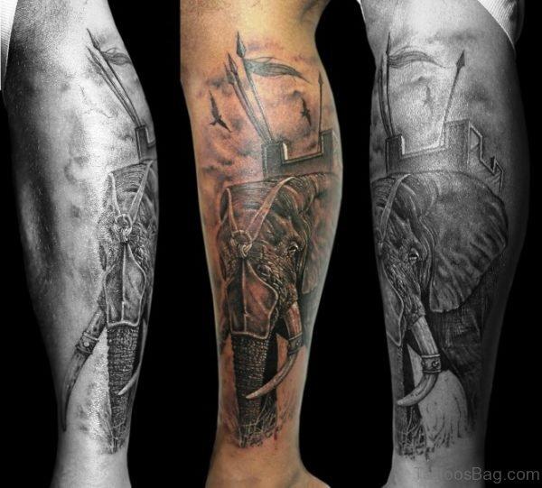 War Elephant Tattoo On Calf