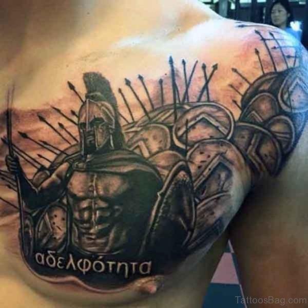 Warrior Chest Tattoo
